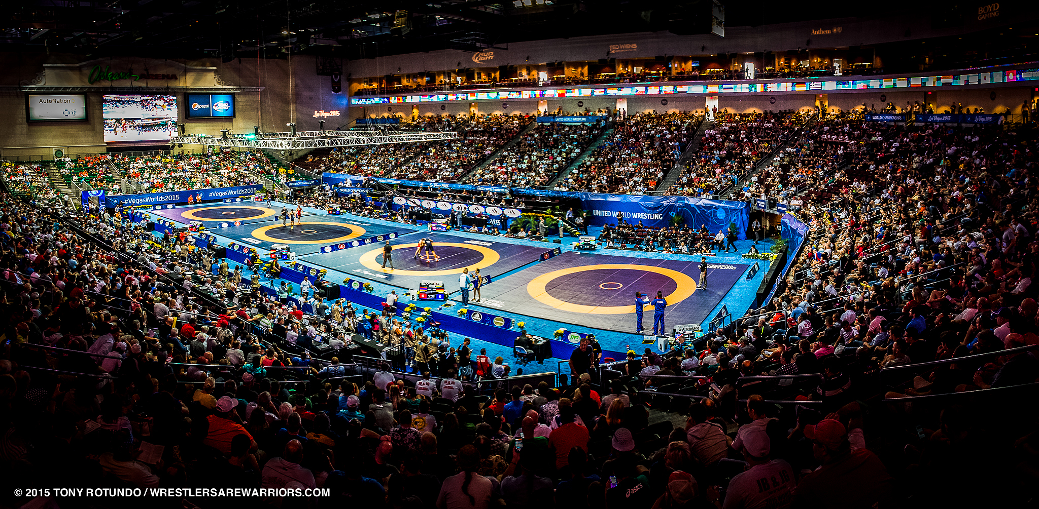 2015 WORLD CHAMPIONSHIPS - WRESTLING, LAS VEGAS. KOM Sports Marketing was retained by USA Wrestling and Las Vegas Events as the marketing & communications agency for the World Championships at Orleans Arena, September 2015. KOM worked with USA Wrestling  and its international federation United World Wrestling on new dynamic Look & Feel for the event incorporating giant video boards, digital entrance arch, etc. Working back with Las Vegas Events, KOM created a robust presence marketing plan with pre-event camps  & clinics which included an innovative partnership with the UFC (which some had some of its athletes, which were former USA Wrestling National Team members, appear). KOM also created a multi-tiered targeted ticket campaign which hit a core audience in the  U.S. and offered up travel-destination packages internationally. KOM build out the first in-arena Fanfest. The results: the final four nights were sell outs, international TV hit 142 countries, and the dynamic venue presentation broke new ground for a sport  looking to be re-energized after almost being eliminated from the Olympic program in 2013.