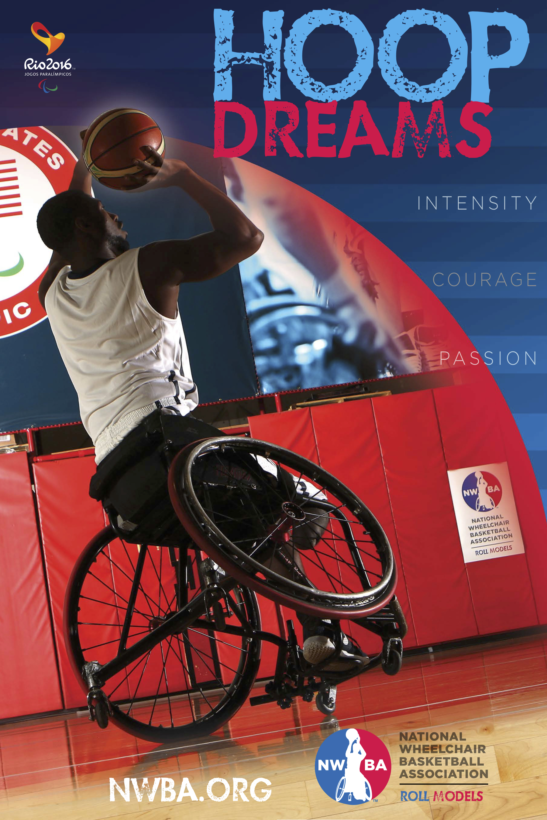 "National Wheelchair Basketball Association, summer 2016 In summer 2016, then interim Executive Director Jim  Scherr and  current Executive Director Anthony  Bartkowski sought  to re-define the way Paralympic sport was branded and positioned. KOM Sports Marketing was hired to re-brand, re-position, and build organizational and event campaigns going into the 2016 Rio Paralympic Games. The campaigns which included various videos and  static images featured team members and KOM created several videos and static executions. The organizational campaigns: ""Roll with U.S."" and ""Roll Models"". The Rio Games campaign: ""Hoop Dreams"".  The campaigns proved good mojo as Team USA ended winning historic  gold medals for men and women."